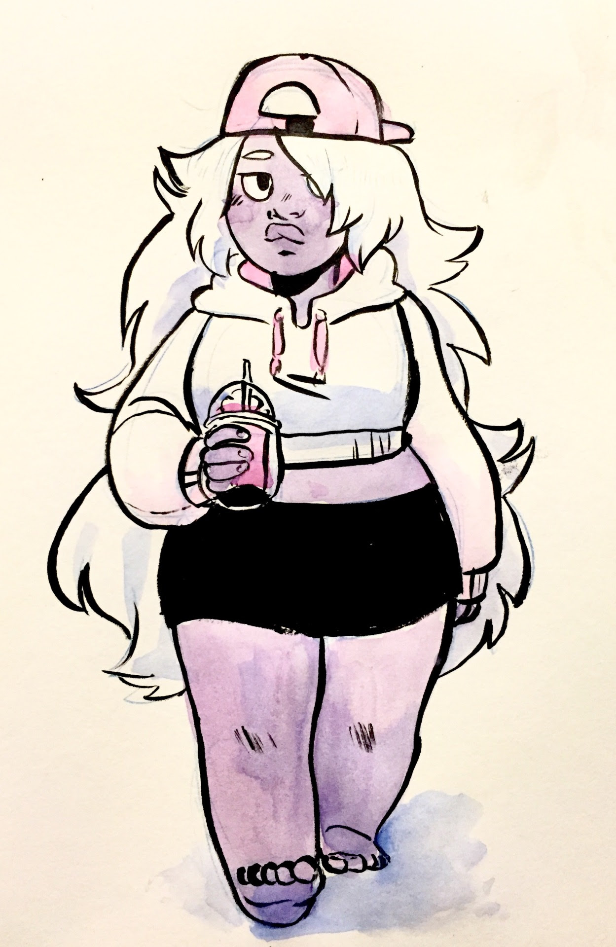 i never use my inks so! heres an amethyst doodle to test my inking capabilities