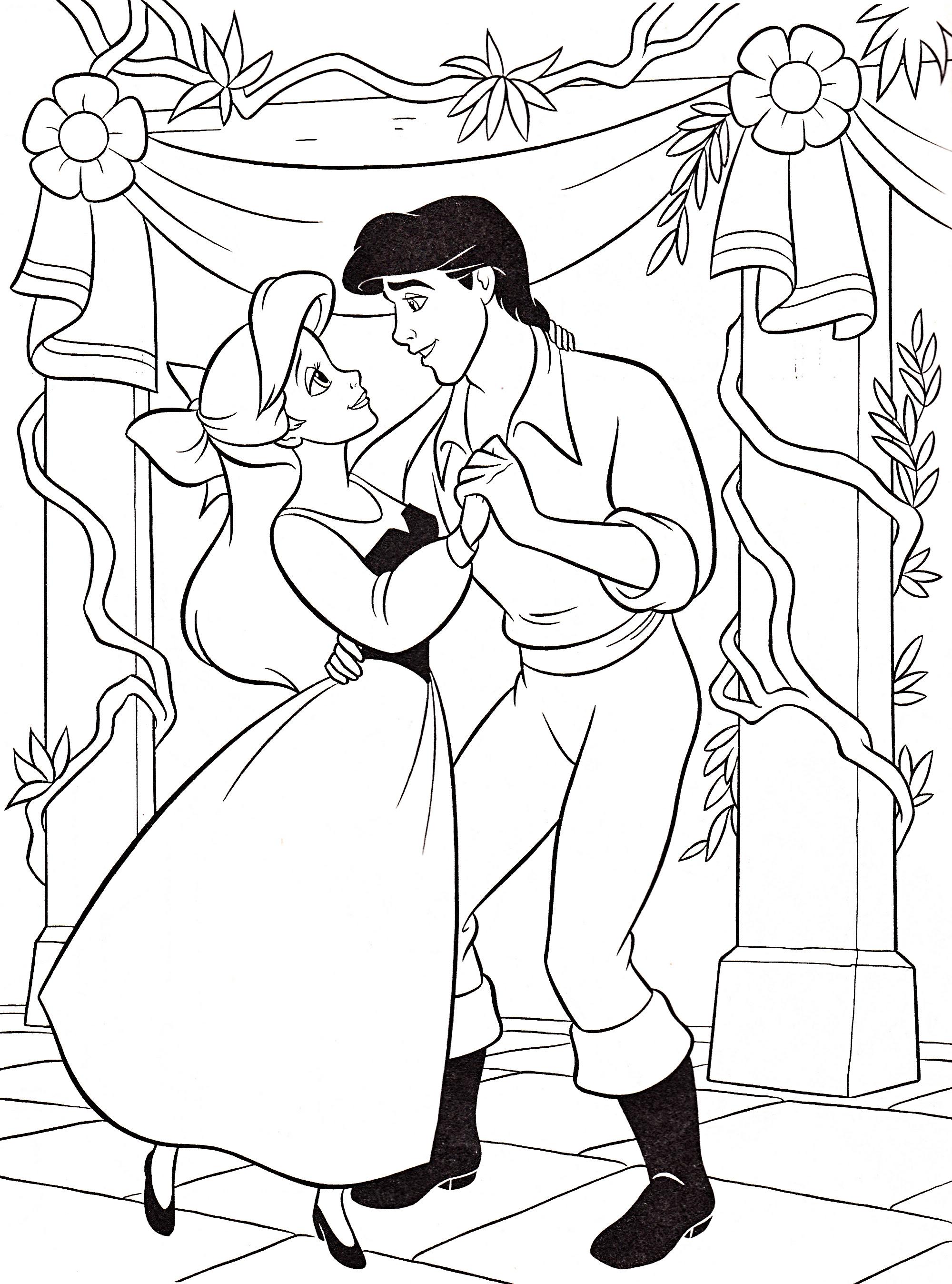 Walt Disney Coloring Pages - Princess Ariel & Prince Eric ...