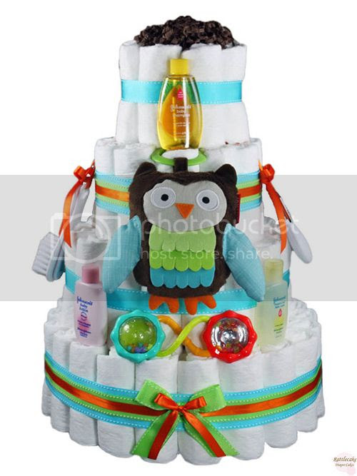 Cutey Hootey Owl Diaper Cake 4 Tier