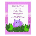 Purple Hippo Baby Shower Invitation