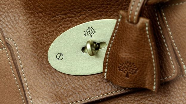 Close up of Mulberry logo on bag