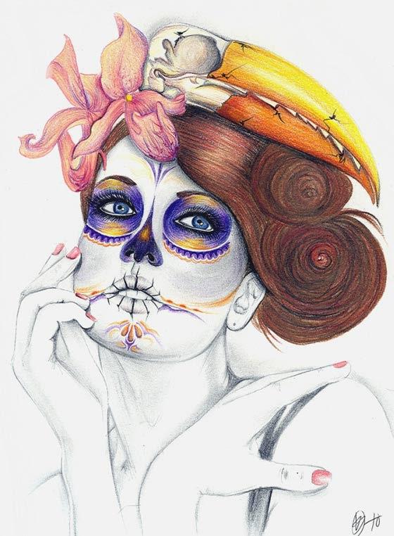Dibujos Día De Los Muertos Hechos Con Colores Prismacolor