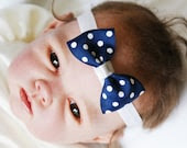 Baby Polka Dot Headband  Navy Newborn Other Ages Made to Order - slouchiehats