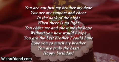 You Are Just Too Good Brother Birthday Poem