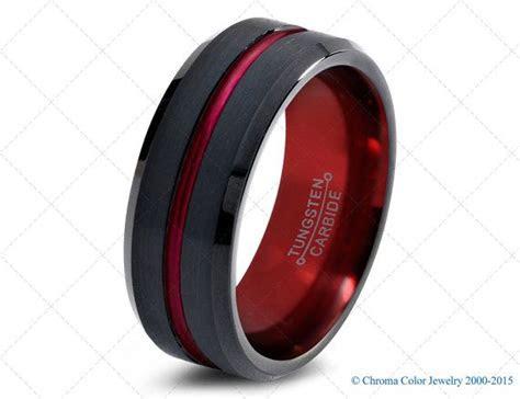 mens wedding bandblack red tungsten ringblack wedding