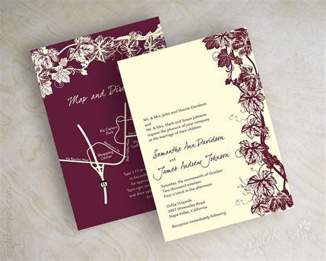 Wine, vinyard, burgundy and ivory wedding invitations