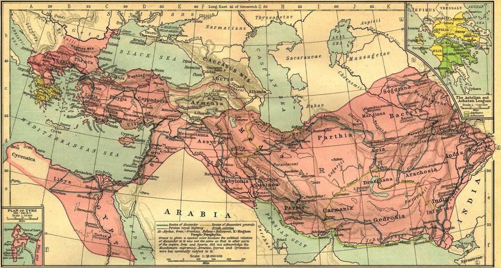 Mapa mostra os domínios conquistados pelo Império Macedônio