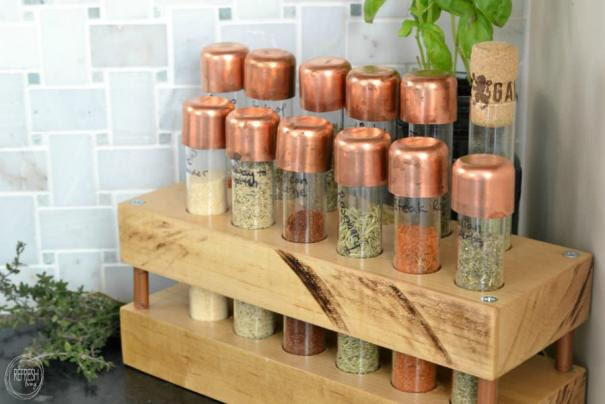 diy spice rack with test tubes butcher block and copper pipe
