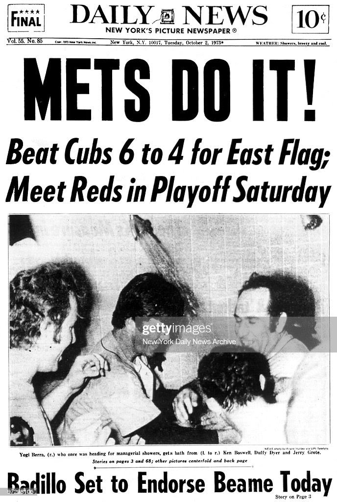Daily News Front page October 2, 1973, Headline: METS DO IT ...
