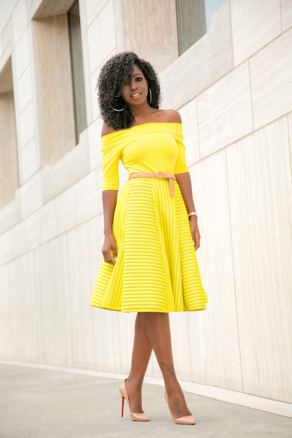 off shoulder blouse  yellow striped skirt  style pantry