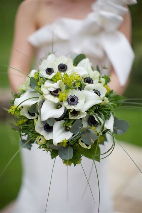 Wedding Wednesday :: White with Black Center Anemone