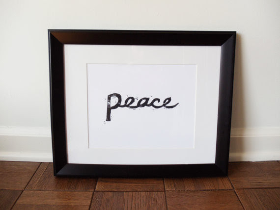 Linocut Peace Print Wall Art/ Gifts under 20 by FatEyeDesign ...
