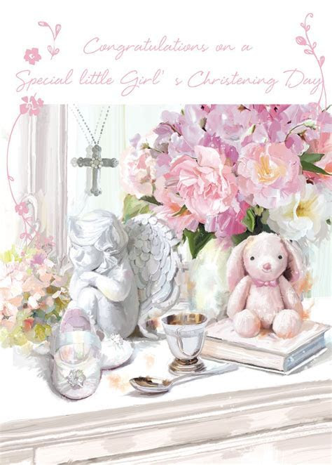 CHRISTENING CARD BABY GIRL HER CHRISTENING DAY SIZE 4.75 X