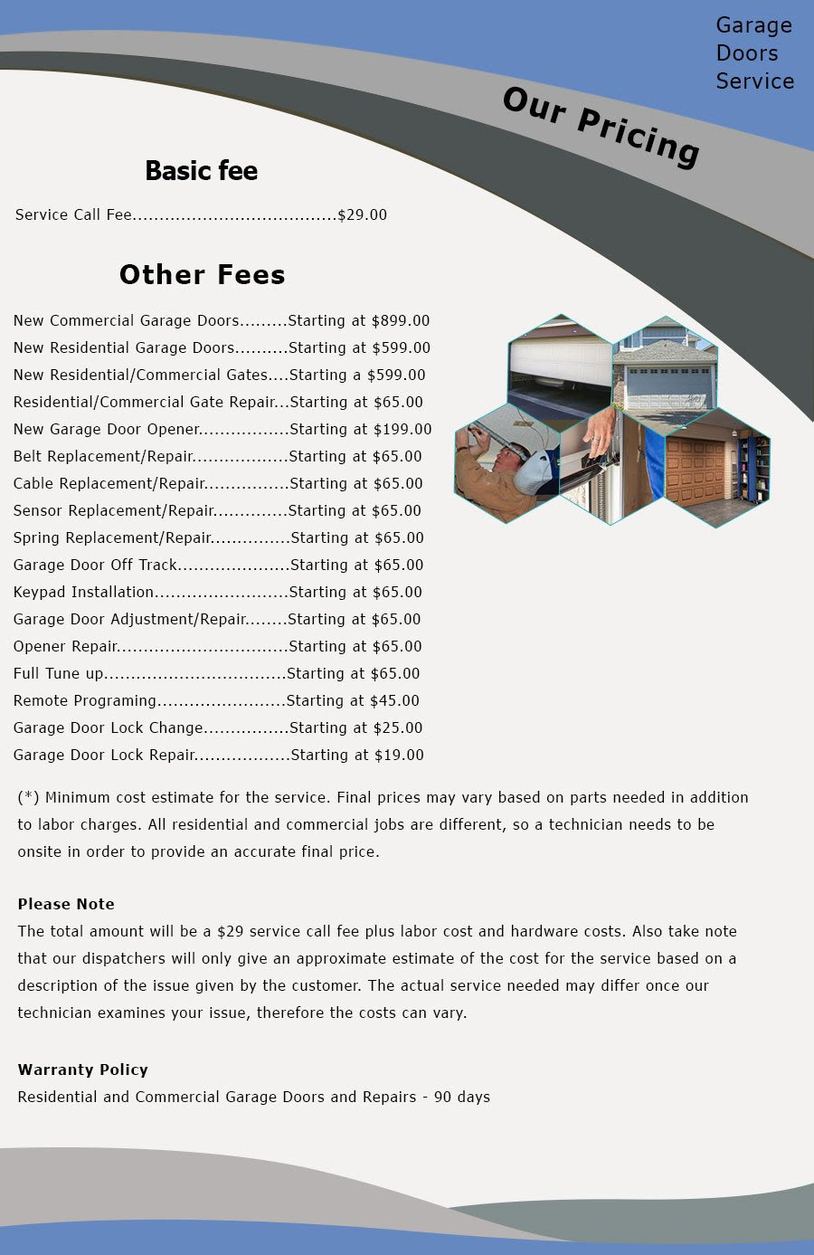Price List Security Garage Door Service