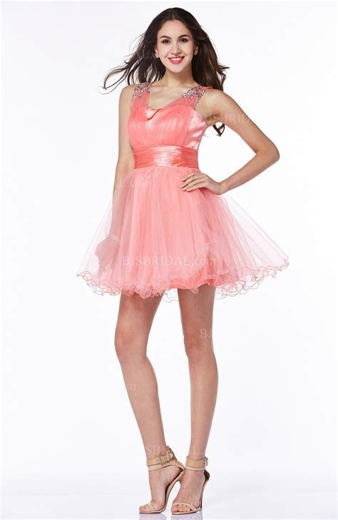 Coral Modern Baby Doll Thick Straps Silk Like Satin Short
