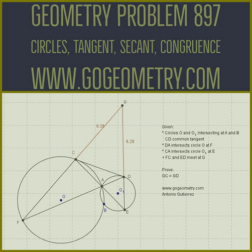 Geometric Art Typography of Geometry Problem 897: Intersecting Circles, Common External Tangent, Secant, Congruence, iPad Apps.
