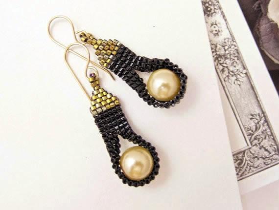 Cleopatra Tassel Earrings with Pearls by JeannieRichard