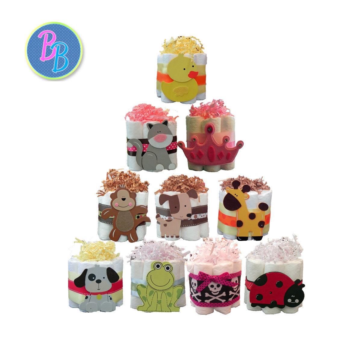 Mini Diaper Cakes - Unique Baby Shower Gift, Centerpiece, Favor jungle, moon, nautical, sun, butterfly, dinosaur
