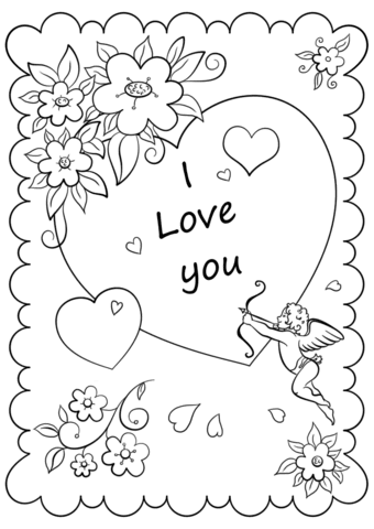 Valentines Day Cards Coloring Pages | Vallentine Gift Card