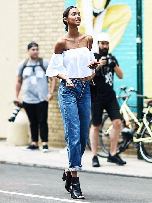 Le Fashion Blog Off The Shoulder Boyfriend Jeans Ankle Boots Model Off Duty Via Who What Wear