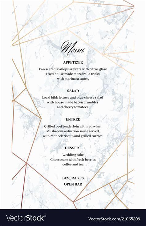 Wedding menu template card of geometric design Vector Image