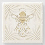 Golden Filigree Christmas Angel of Grace on White Stone Beverage Coaster