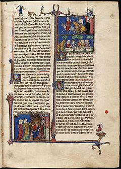 Page from the Arthurian Romances illuminated manuscript