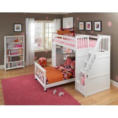 NE Kids School House Stair Loft Bed with Desk End | Wayfair