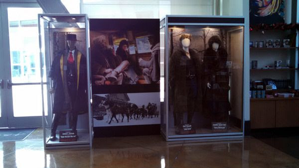 The outfits worn by Samuel L. Jackson, Kurt Russell and Jennifer Jason Leigh in THE HATEFUL EIGHT...on display at ArcLight Cinemas in Hollywood.