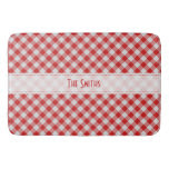 Personalize: Red and White Gingham Check Pattern Bath Mats