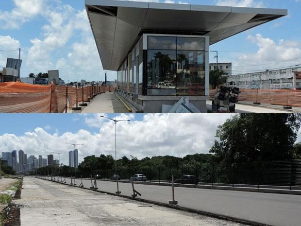 Corredor Leste/Oeste só será concluído em fevereiro (acima), já a pista leste da Via Mangue deve ser inaugurada em dezembro (abaixo) (Foto: Marina Barbosa / G1)