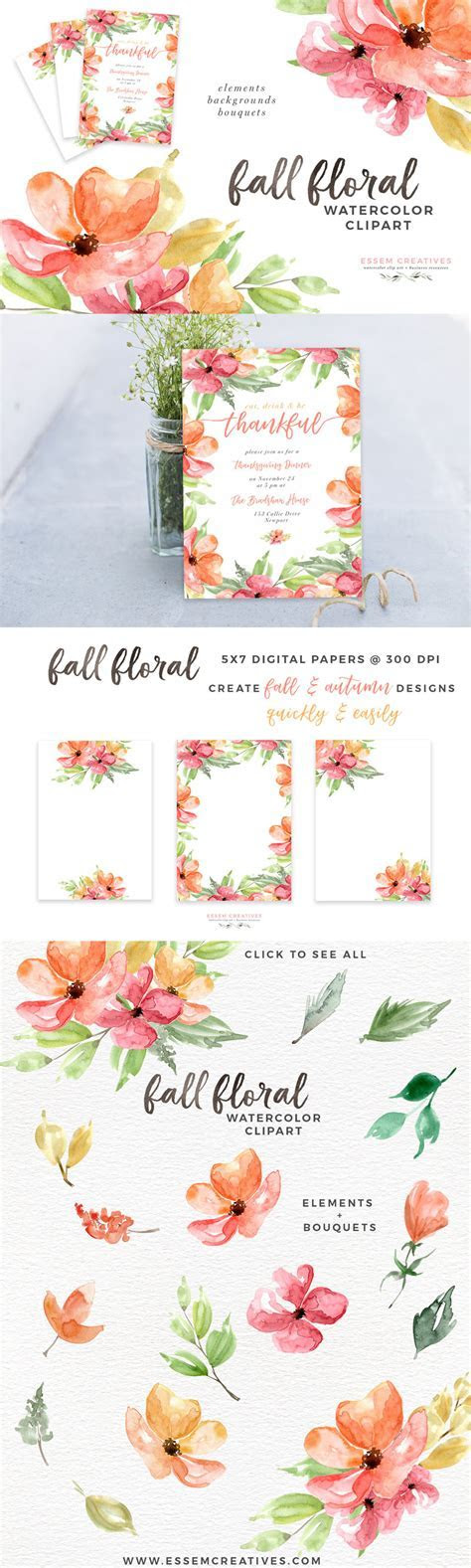 Autumn Fall Watercolor Floral Clipart, 5x7 Digital Papers