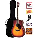 Yamaha FG720S Folk Acoustic Guitar Bundle with Gig Bag, Tuner, Instructional DVD, Strings, Pick Card, and Polishing...