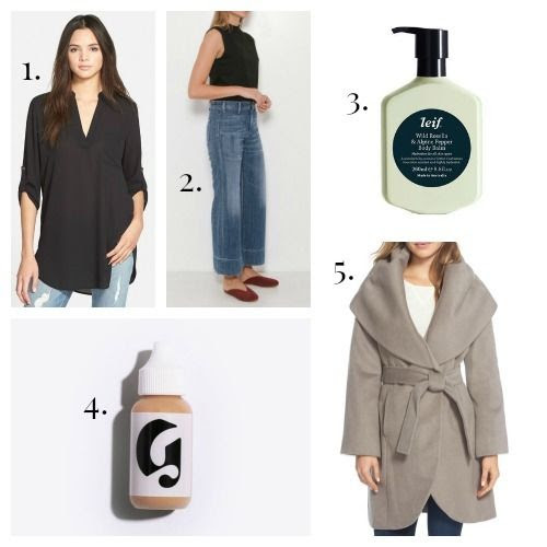 Lush Tunic - Citizens of Humanity Jeans - Leif Body Balm - Glossier Skin Tint - T Tahari Coat
