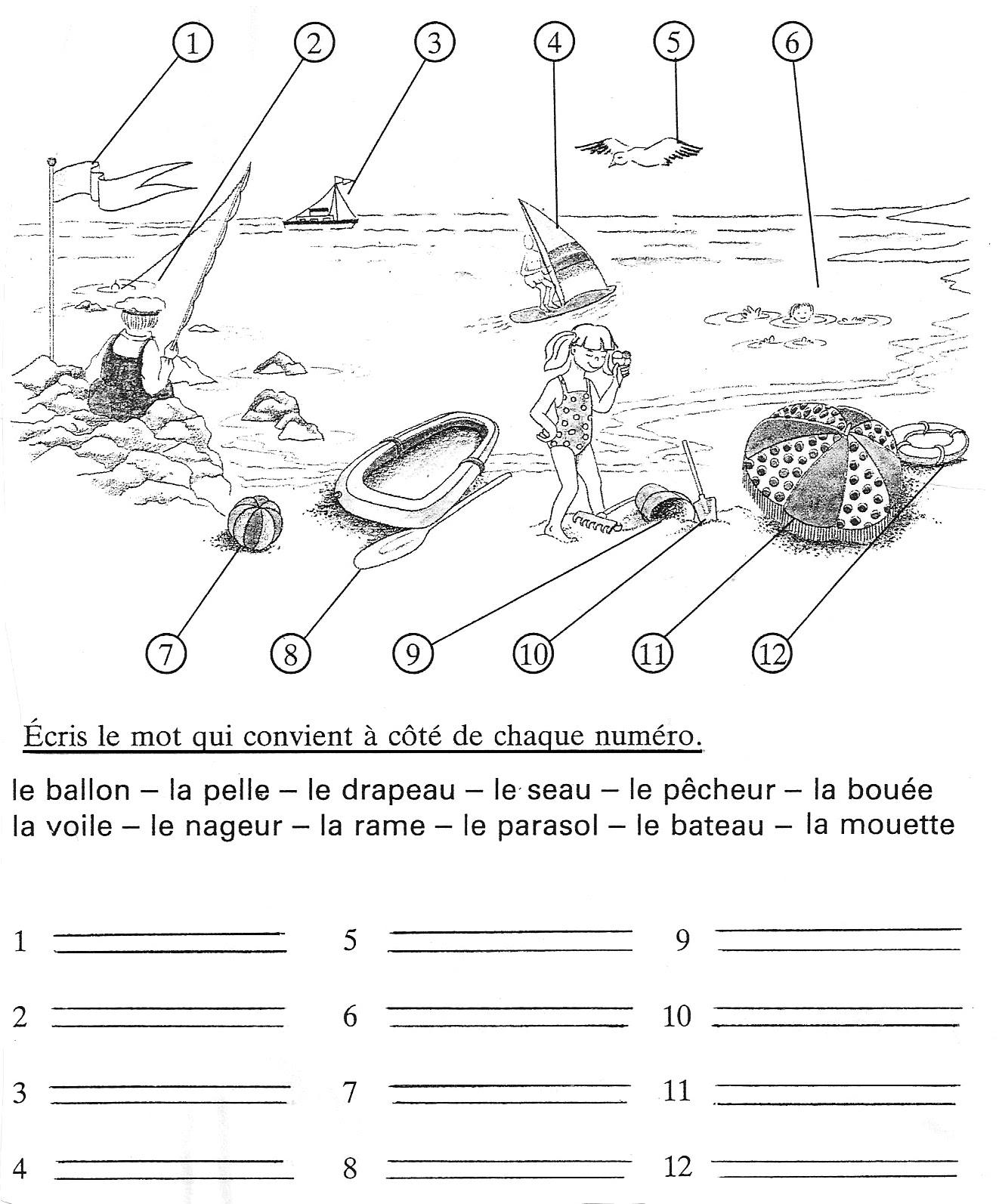 Na plaży - ćwiczenie 1 - Francuski przy kawie