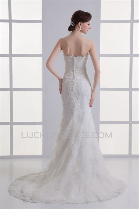Satin Lace Sweetheart Mermaid/Trumpet Short Sleeve Wedding