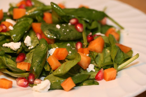 Spinach Persimmon Pomegrante Salad