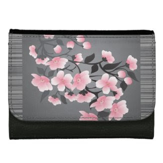 Cherry Blossom (sakura) on a gray black Wallet