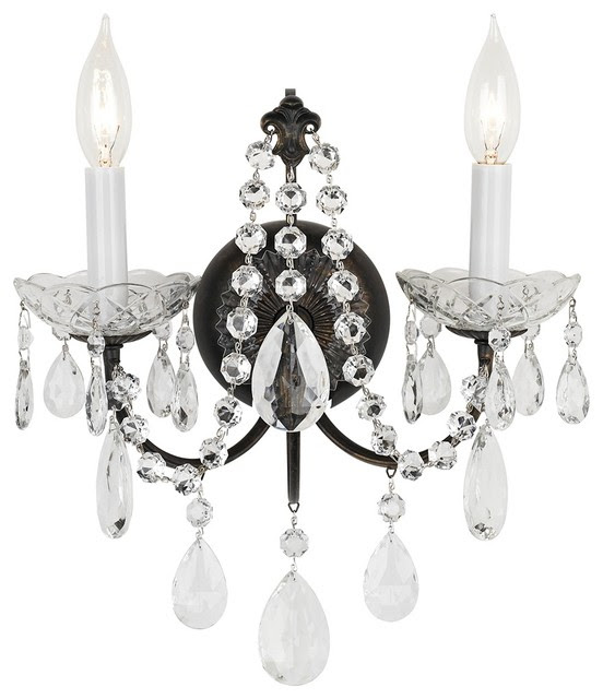 Crystal 2-Light Madison Bronze Legacy Crystal Wall Sconce ...