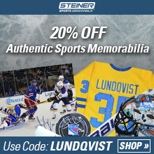 20% Off at SteinerSports.com, code LUNDQVIST