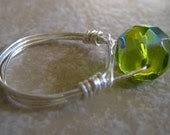 Lime Green Wire Wrapped Ring