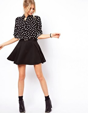 Image 1 of ASOS Ponti Mini Skirt with Belt