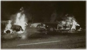Inspiration: cop cars burning on the eve of white night riots by queers avenging harvey milk's murder. they didn't show that in the sean penn movie did they?