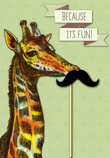 Giraffe with Moustache Birthday Card   Greeting Cards