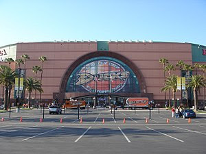 An exterior view of Honda Center before a play...