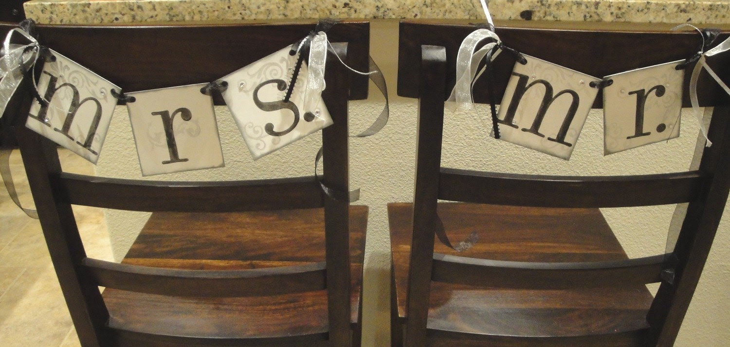 MR. and MRS. wedding chair hanger signs CUSTOMIZE to your wedding colors / Decorative rhinestones and ribbons