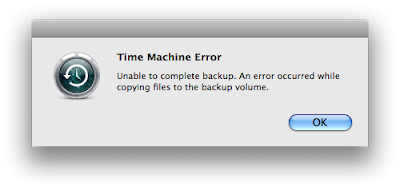 Time Machine Error. Unable to complete backup. An error occurred while copying files to the backup volume.