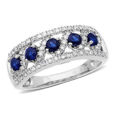 Lab Created Sapphire and 1/4 CT. T.W. Diamond Band in 10K