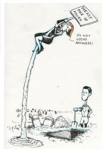 Cartoon: The Grave Beckons (medium) by urbanmonk tagged julia,gillard,labour,leadership,prime,minister