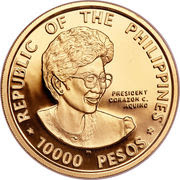 10000 Pesos (Democracy) – obverse